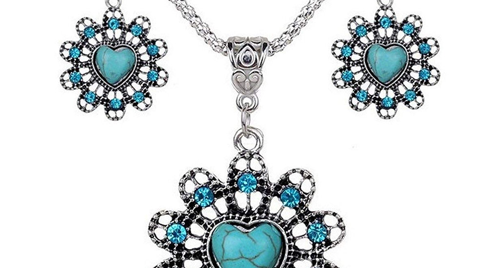 Turquoise Collection Antique Silver Plated Floral Heart Necklace with Earrings