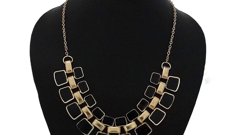 Fashionable Link Chain Geometric Black Color Bib Enamel Statement Necklace