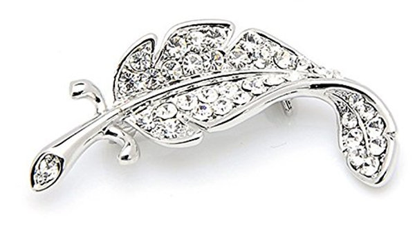 Crystal Studded Silver Plated Korean Style Leaf Brooch for Unisex