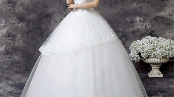 Senecio Premium White V-Neck Solid Lace Floor-Length Wedding Collection