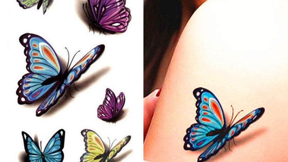 Mini Design Colorful Flower Butterfly Waterproof Body Art Sleeve Sticker Tatoo
