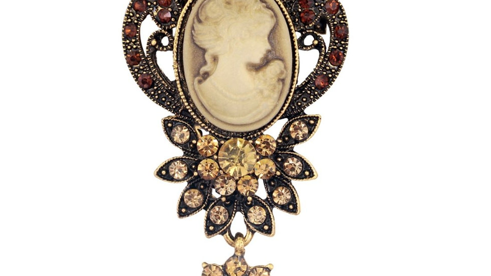 Victorian Era Inspired Princess Queen Luxury Floral Collection Crystal Brooch
