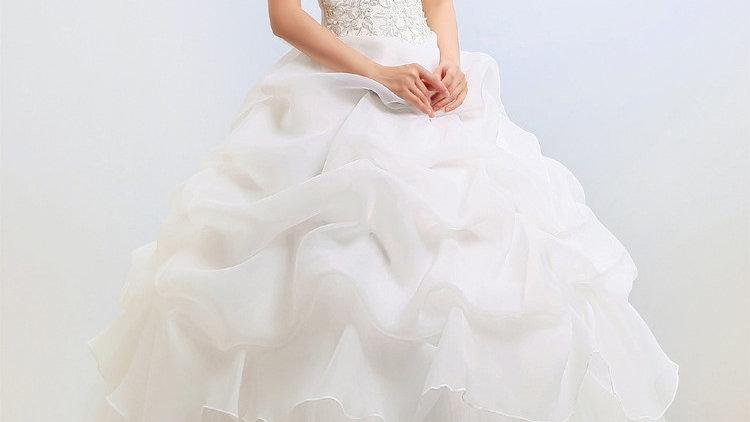 New fashion off-shoulder gauze back laces sweep train wedding dress white