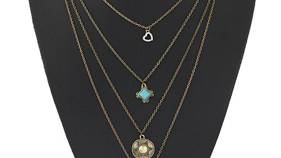 Four Chain MultiLayer Turquoise Antique Fashion Crystal Heart Arrow Necklace