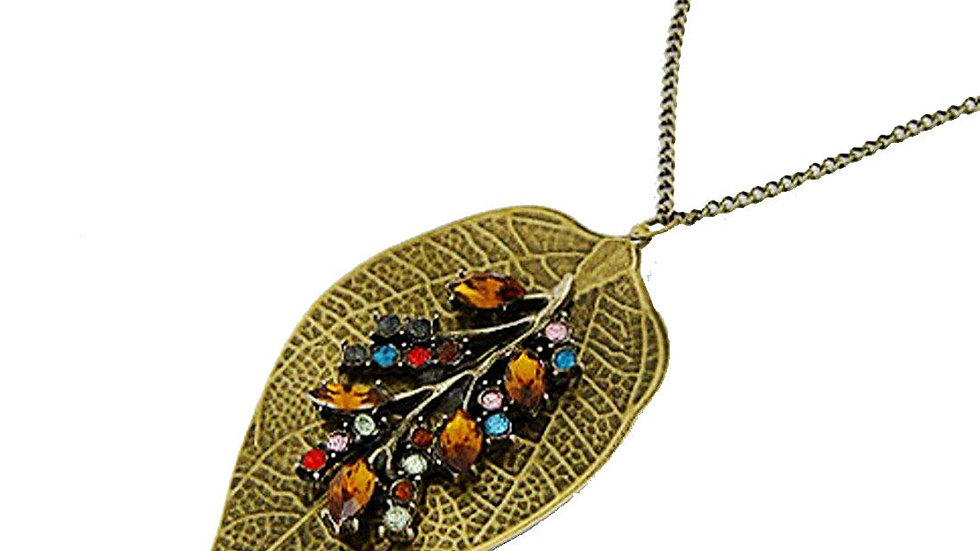 Luxury Vintage Leaves High Quality Multicolor Rhinestone Studded Necklace