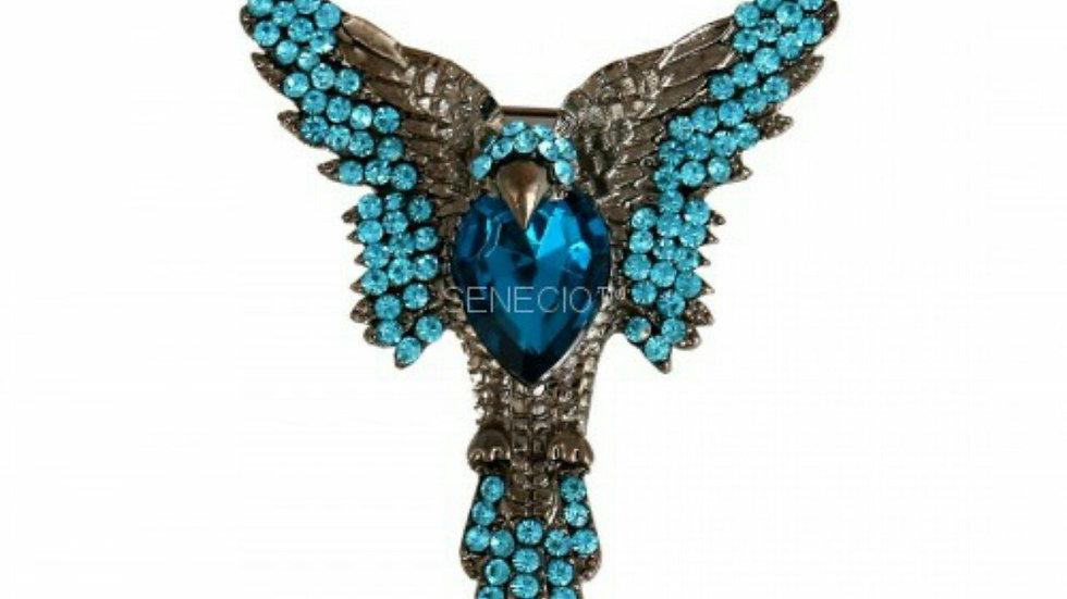 Exclusive Flying Eagle Bird Blue Crystal Studded Gun Metal Color Tie Brooch