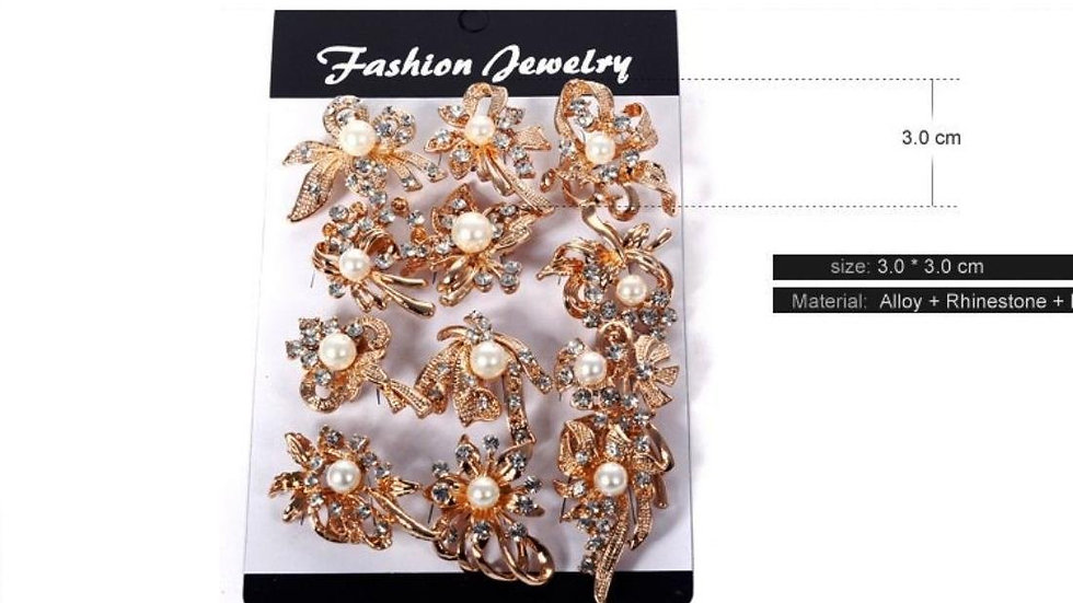 Pearl Rhinestone Gold Plated Party Wear Brooch For Baby 1 Pc