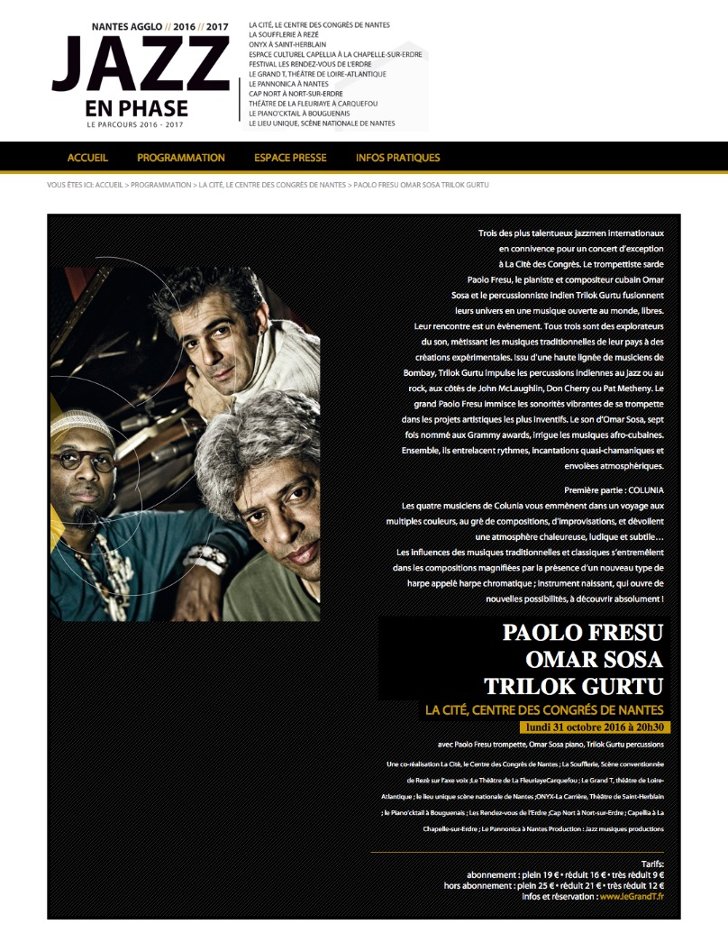 Jazz en phase _ PAOLO FRESU OMAR SOSA TRILOK GURTU
