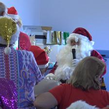 Santa distributing presents at Christmas