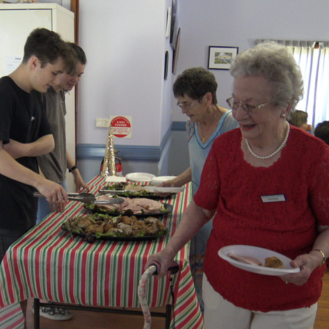 Lunch being served at Christmas by local