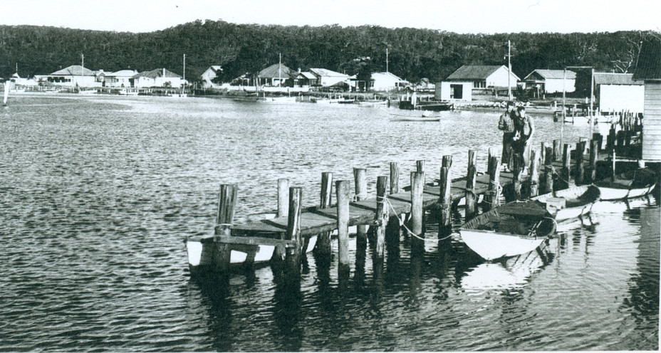 Old ferry shed in background