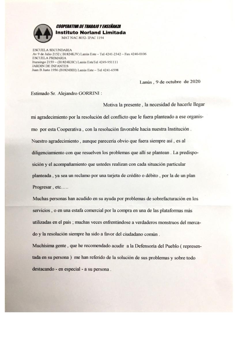 Carta de la Cooperativa del Instituto Norland al Defensor del Pueblo de Lanús, el Dr. Alejandro Gorrini