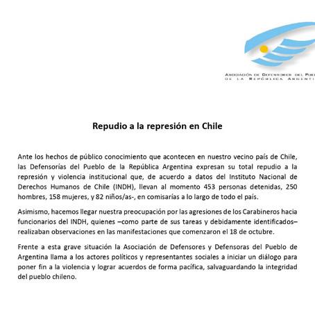 Repudio de todas las Defensorías del Pueblo de la República Argentina a la represión en Chile