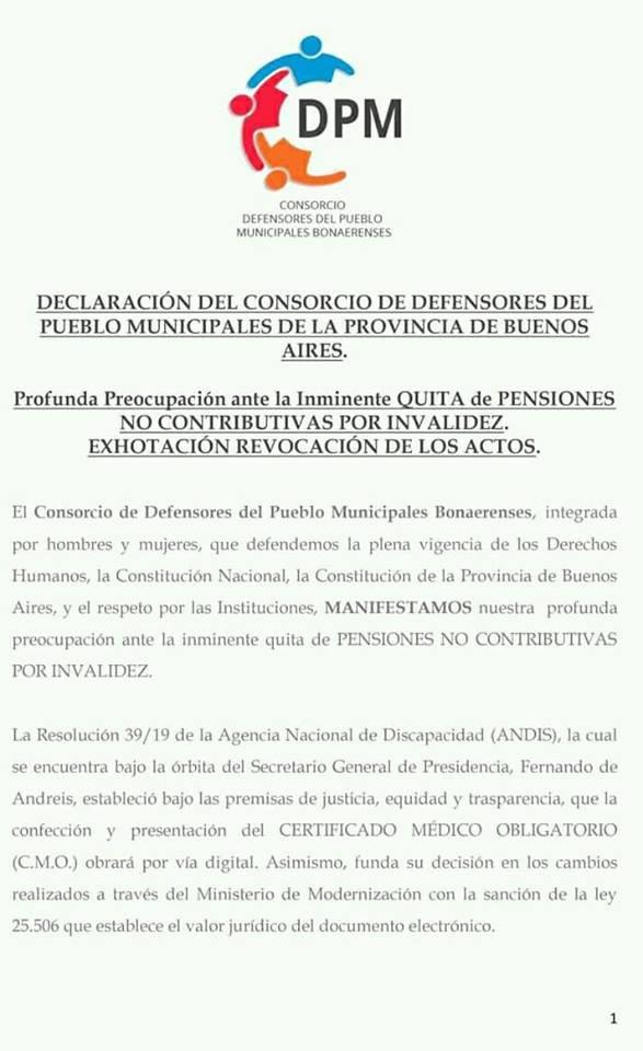 Declaración del Consorcio de Defensores Municipales Bonaerenses
