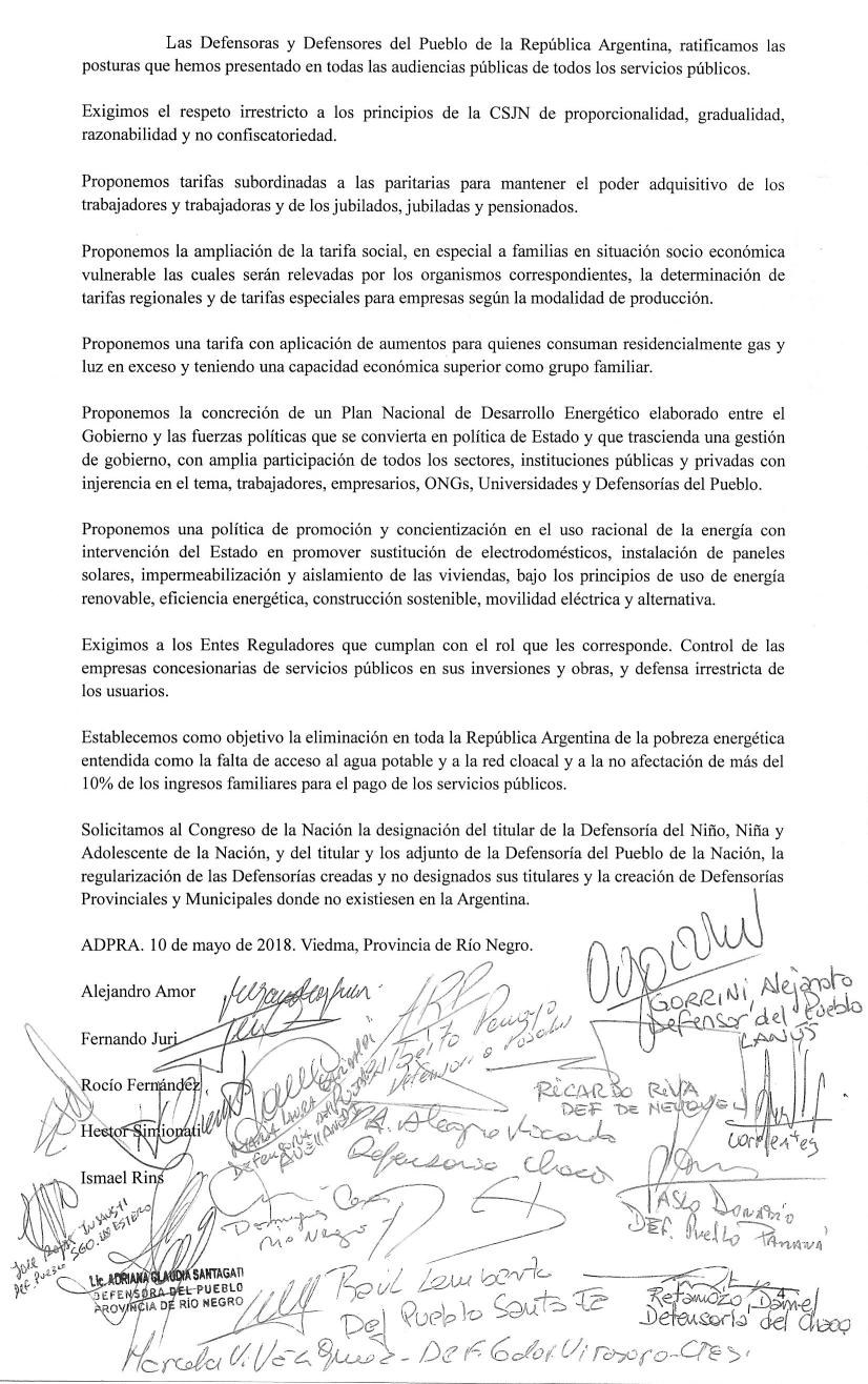 Conclusiones del Acta del 1er Plenario de la Asociación de Defensores del Pueblo de la República Argentina (ADPRA) Mayo 2018