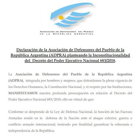 La Defensoría del Pueblo Lanús como parte de ADPRA se manifiesta en relación al Decreto 683/201