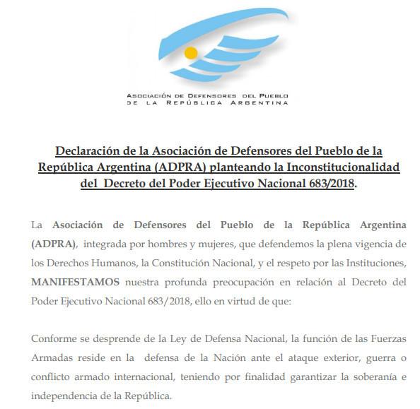 Declaración de la Asociación de Defensores del Pueblo de la República Argentina (ADPRA) planteando la Inconstitucionalidad del  Decreto del Poder Ejecutivo Nacional 683/2018