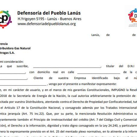 Compartimos el MODELO DE  IMPUGNACIÓN para los usuarios de Metrogas del Municipio de Lanús
