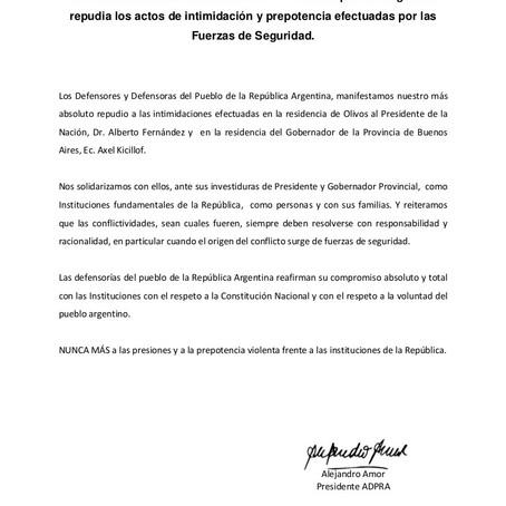La Asociación de Defensores del Pueblo repudia los actos efectuados por las Fuerzas de Seguridad