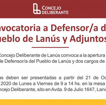 Convocatoria a Defensor/a del Pueblo de Lanús