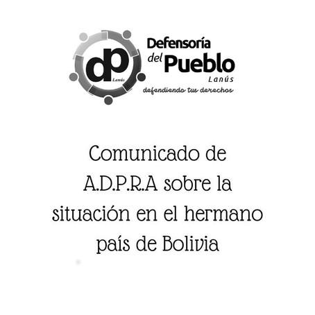 Comunicado de ADPRA sobre la situación en el hermano país de Bolivia