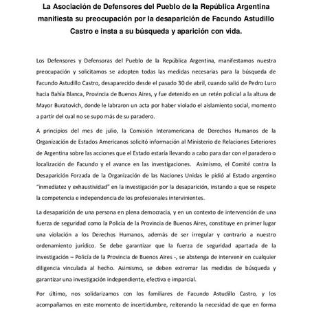 Declaración de ADPRA respecto a la desaparición de Facundo Astudillo Castro