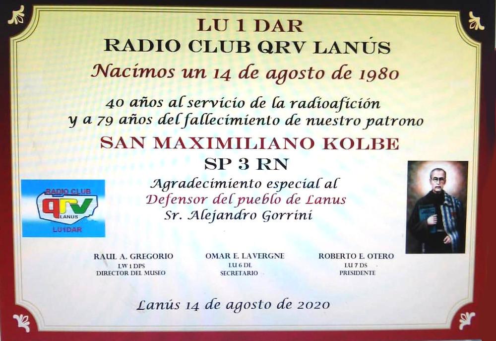 ¡Le deseamos un muy Feliz 40 años Radio Club QRV Lanús! Y agradecemos especialmente la mención al Primer Defensor del Pueblo de Lanús, el Dr. Alejandro Gorrini.
