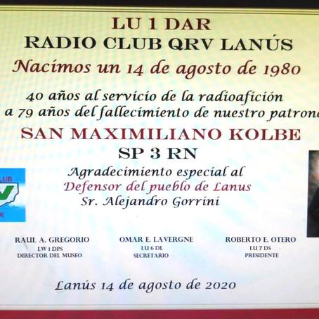 ¡Saludamos afectuosamente a el Radio Club QRV Lanús en su 40°Aniversario!