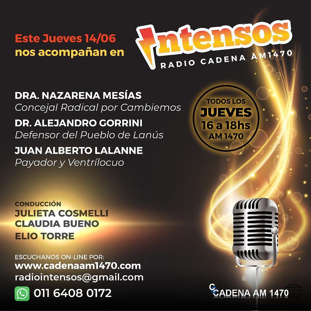 El próximo Jueves 14/06 a las 16hs escuchá al Defensor del Pueblo de Lanús en Intensos por Cadena AM1470