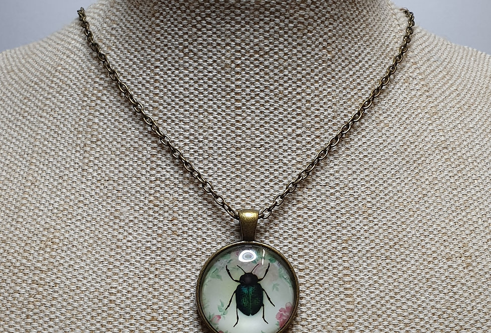 Green & Black Beetle Necklace - Bronze