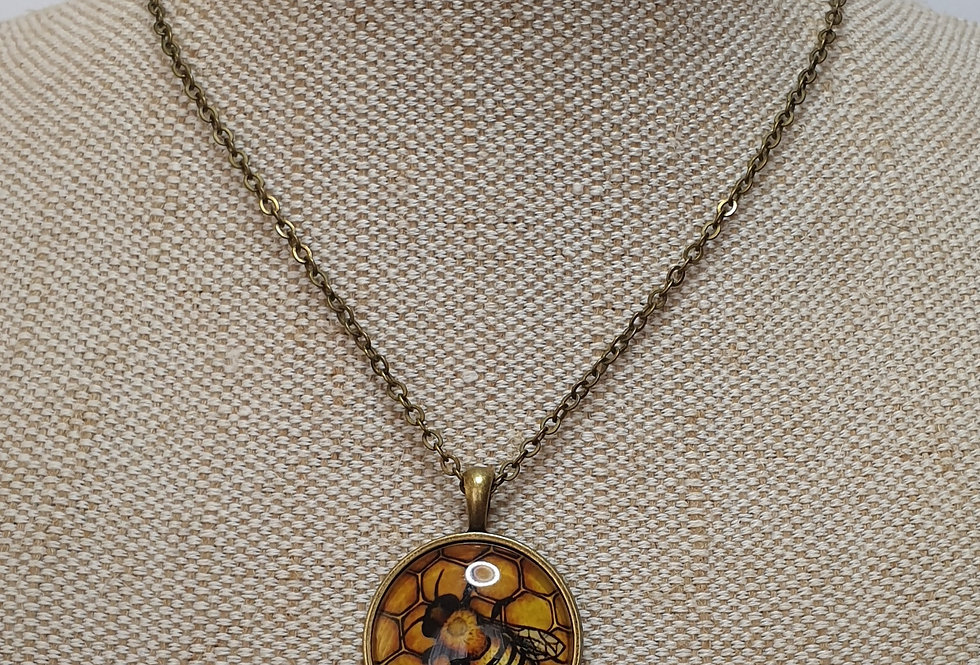 Bee Drawing Necklace - Bronze