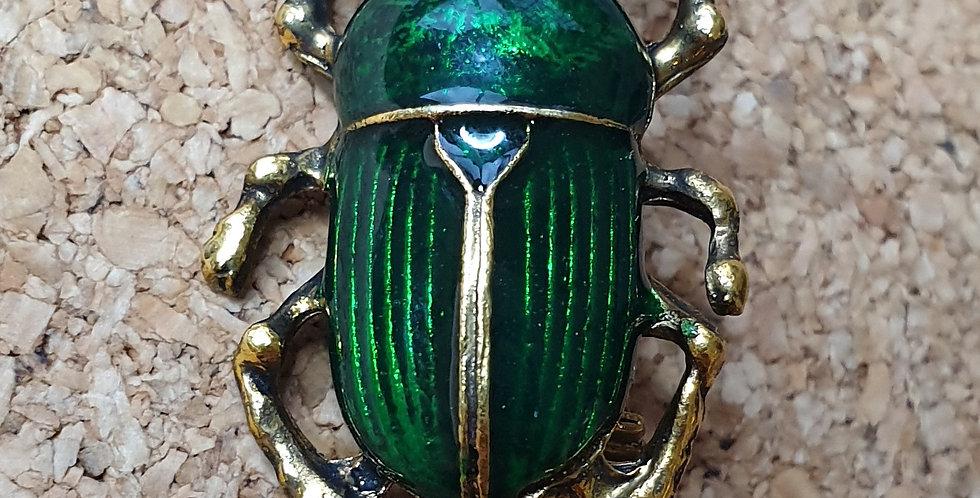Dung Beetle Brooch - Green