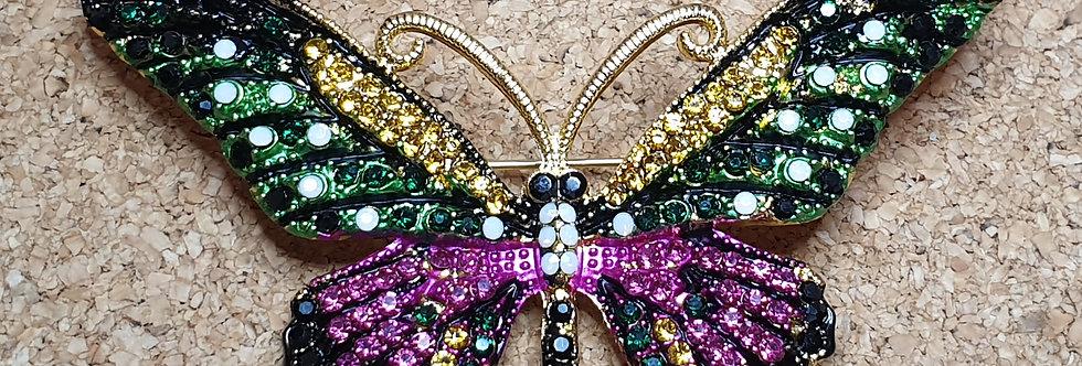 Butterfly Brooch  - Green & Pink