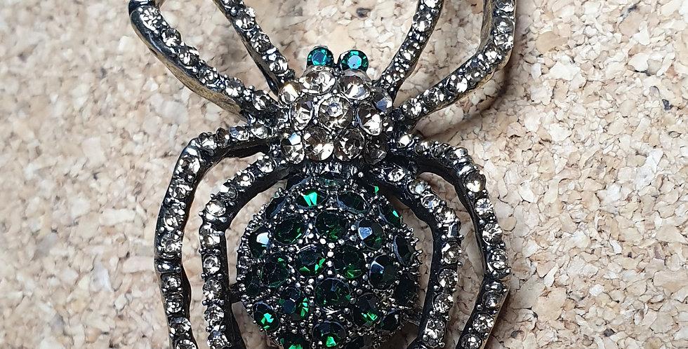 Spider Brooch - Green Bright