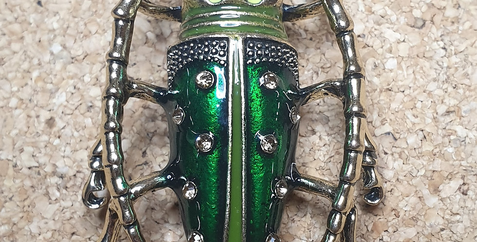 Longhorn Beetle Brooch - Light Green