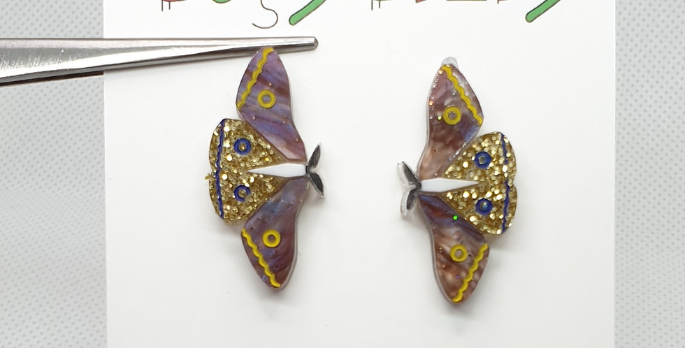 Brown Moth studs acrylic earrings