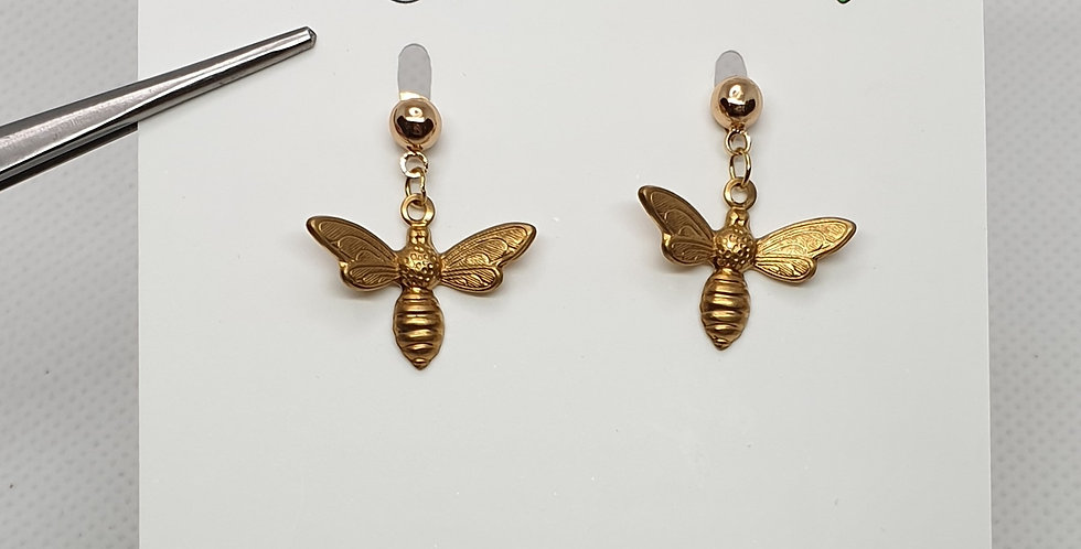 Tiny bees on studs - Brass & Stainless Steel