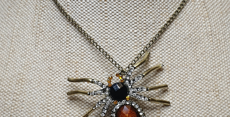 Fashion Spider Necklace - Bronze