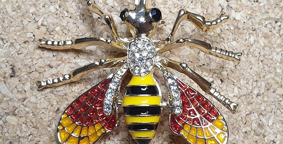 Hornet Wasp Brooch - Red Wings