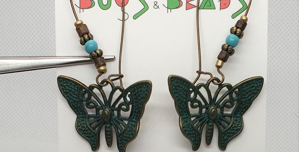 Vintage antique Butterfly danglers earrings