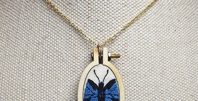 Ullyses Butterfly embroidered pendant necklace