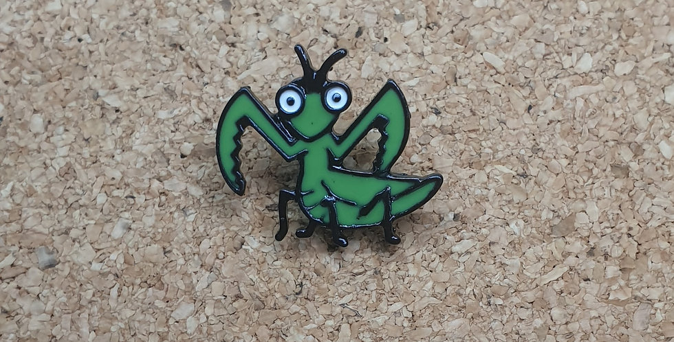 Praying Mantis cartoon pin