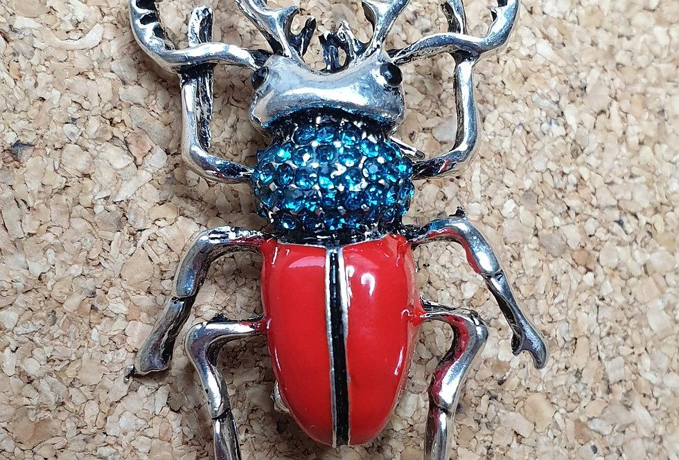 Stag Beetle Brooch - Red