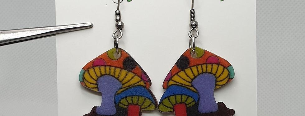 Mixed colour cartoon mushroom earrings
