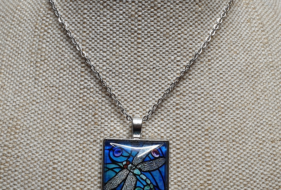 Dragonfly Drawing Necklace