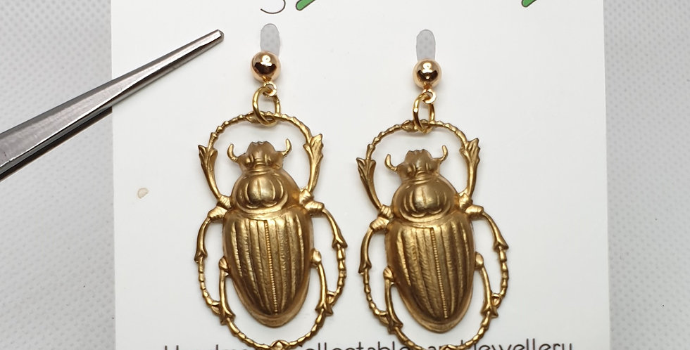 Scarab beetle on studs - Brass & Stainless Steel