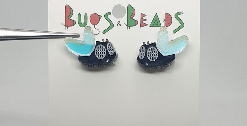 Fly studs acrylic earrings