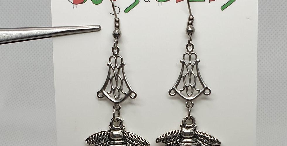 Bee on chandelier earrings