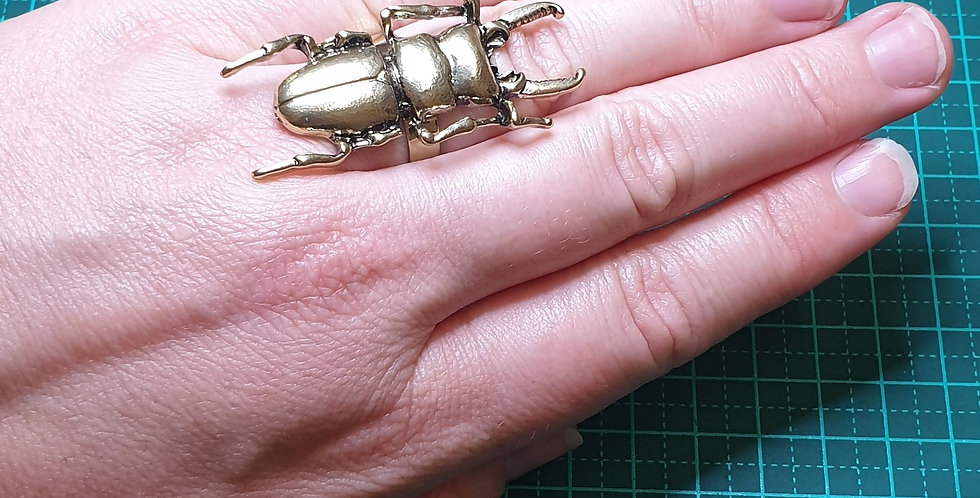 Golden Stag Beetle Ring - Adjustable