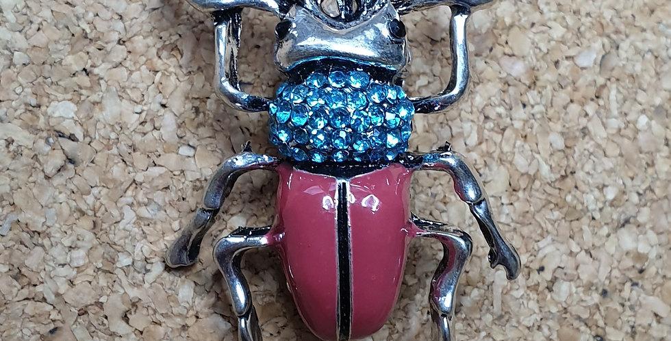 Stag Beetle Brooch - Pink